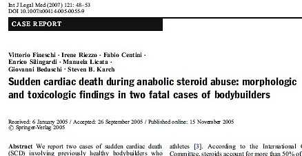 Sudden cardiac death from anabolic steroids: Fatal cases in bodybuilders